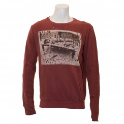 Religion Mens Party Holed Sweat Top (Cardinal)