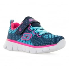 Skechers Infants Foamies Washable Bubbly Trainers (Navy/Hot Pink)