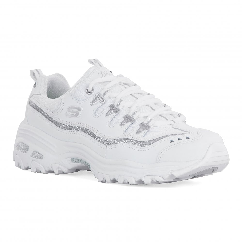 5b9083ad6334 Skechers Womens D Lites Now   Then Trainers (White) - Womens from ...