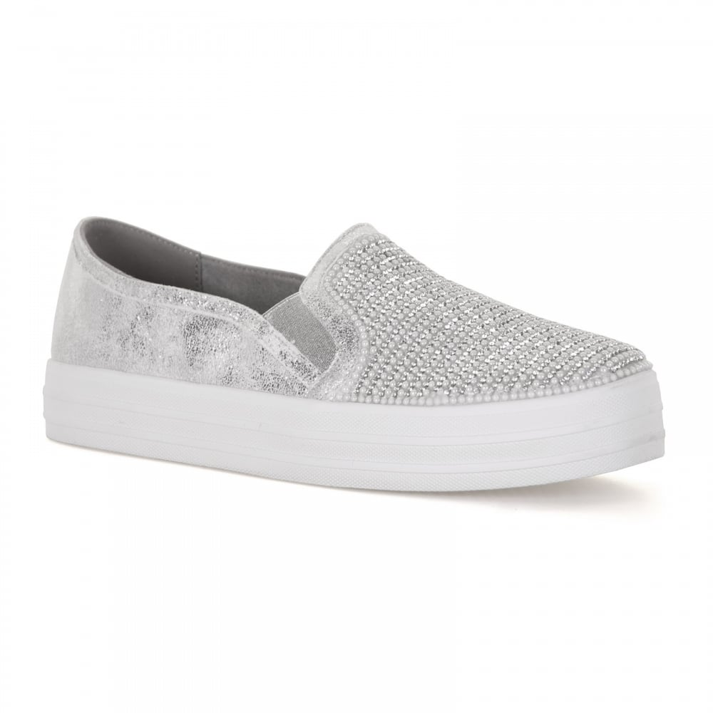 Skechers Womens Double Shiny Dancer Slip-on Trainers (Silver)