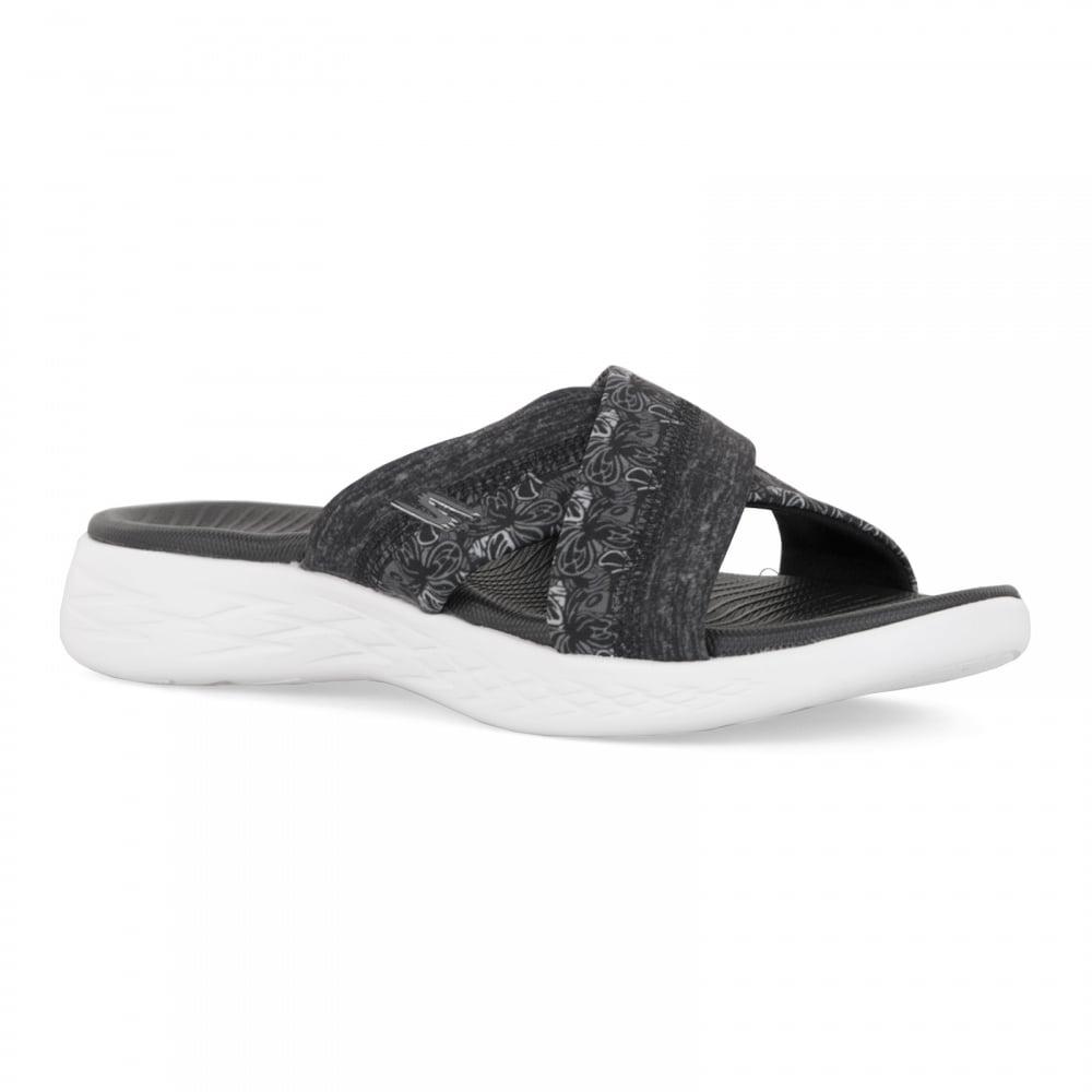 7e537738ef21b Skechers Womens On The Go 600 Monarch Sandals (Black/White) - Womens ...