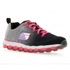 Skechers Youths Glitter Beam 316 Trainers (Black/Neon Pink)