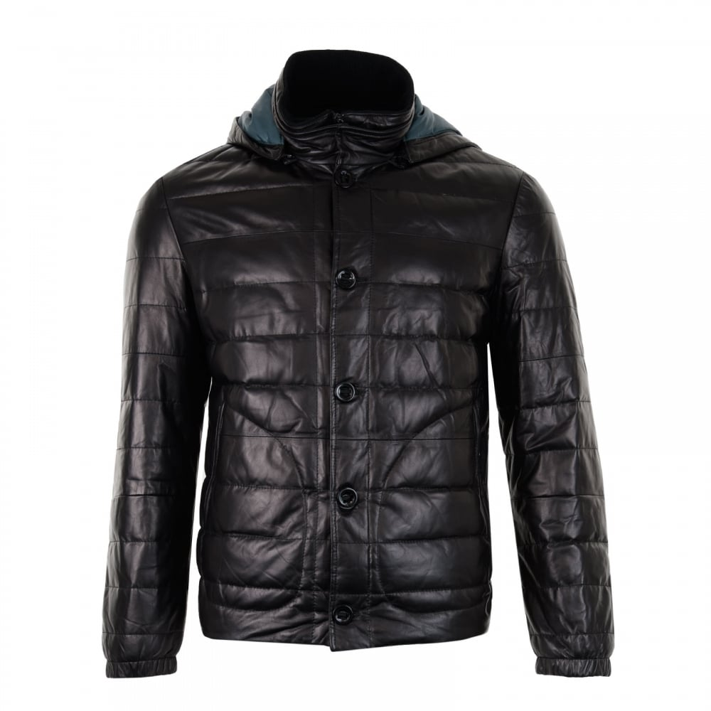 7cfe59009a80 Smarty Mens Cosmo Detachable Hood Leather Coat (Black) - Mens from ...