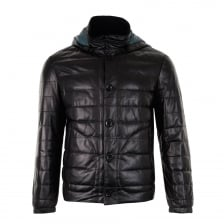 Smarty Mens Cosmo Detachable Hood Leather Coat (Black)