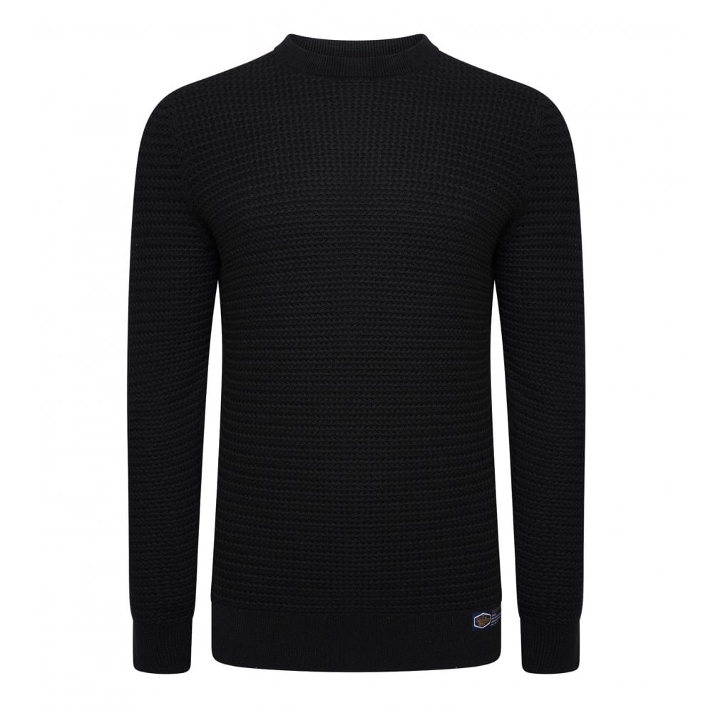 Superdry Mens Academy Textured Crew Knit Sweater (Black) - Mens from ... 30c4b6024166