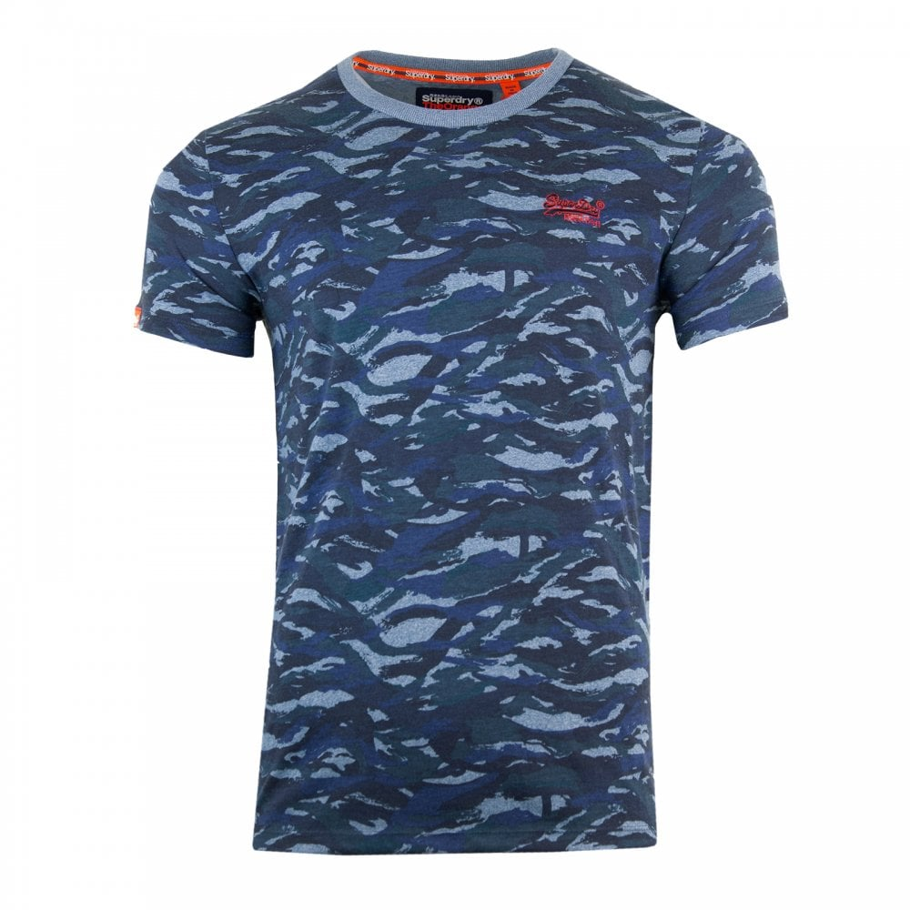 cdd30896 Superdry Mens Orange Label Vintage Embroidered Camo T-Shirt (Blue ...