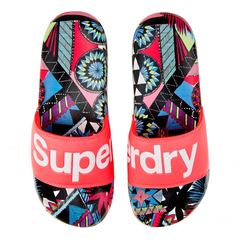 3dde8857b4 Superdry Womens Crazy Tropical Beach Slides (Coral) - Womens from ...