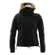 Superdry Womens Hooded Fur Sherpa Wind Attacker (Black)