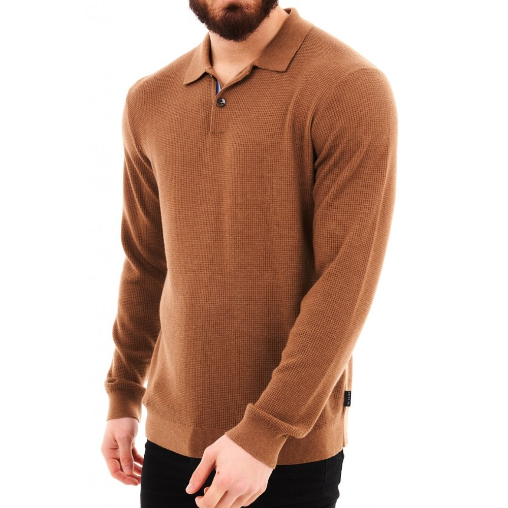 Ted Baker Batha Camel Long Sleeve Knitted Polo Top