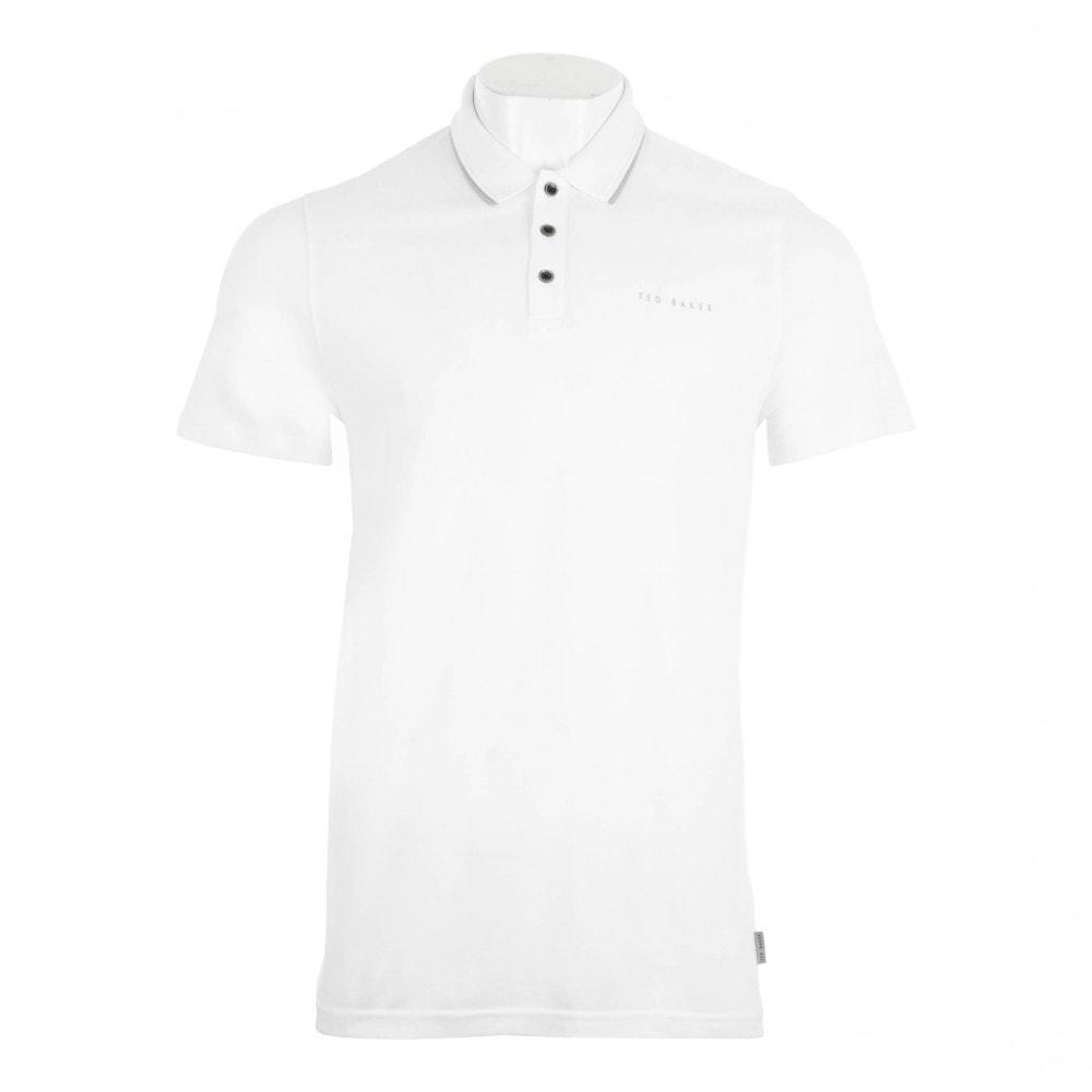 d6190394e1ff82 Ted Baker Mens Bloko Short Sleeve Branded Pique Polo Shirt (White ...