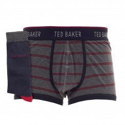 Ted Baker Mens Boxer And Sock Set Gift Box (Navy/Grey)