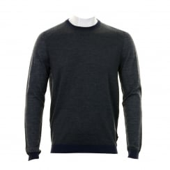 Ted Baker Mens Cambell Merino Wool Twist Knit Sweater (Grey)