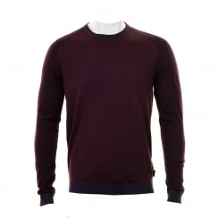 Ted Baker Mens Cambell Merino Wool Twist Knit Sweater (Purple)