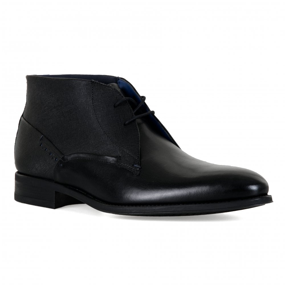 mens black leather ankle boots uk