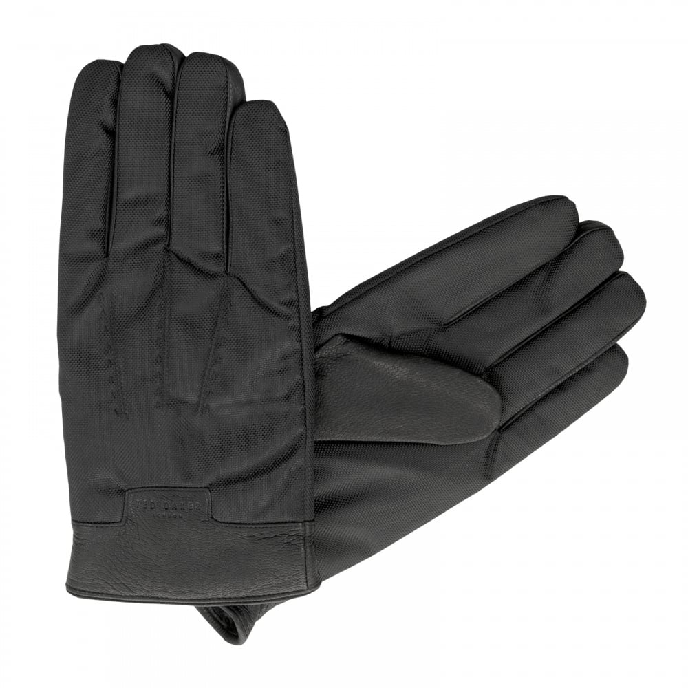 Mens gloves ted baker - Ted Baker Mens Ethan Nylon And Leather Gloves Black Mens From Loofes Uk