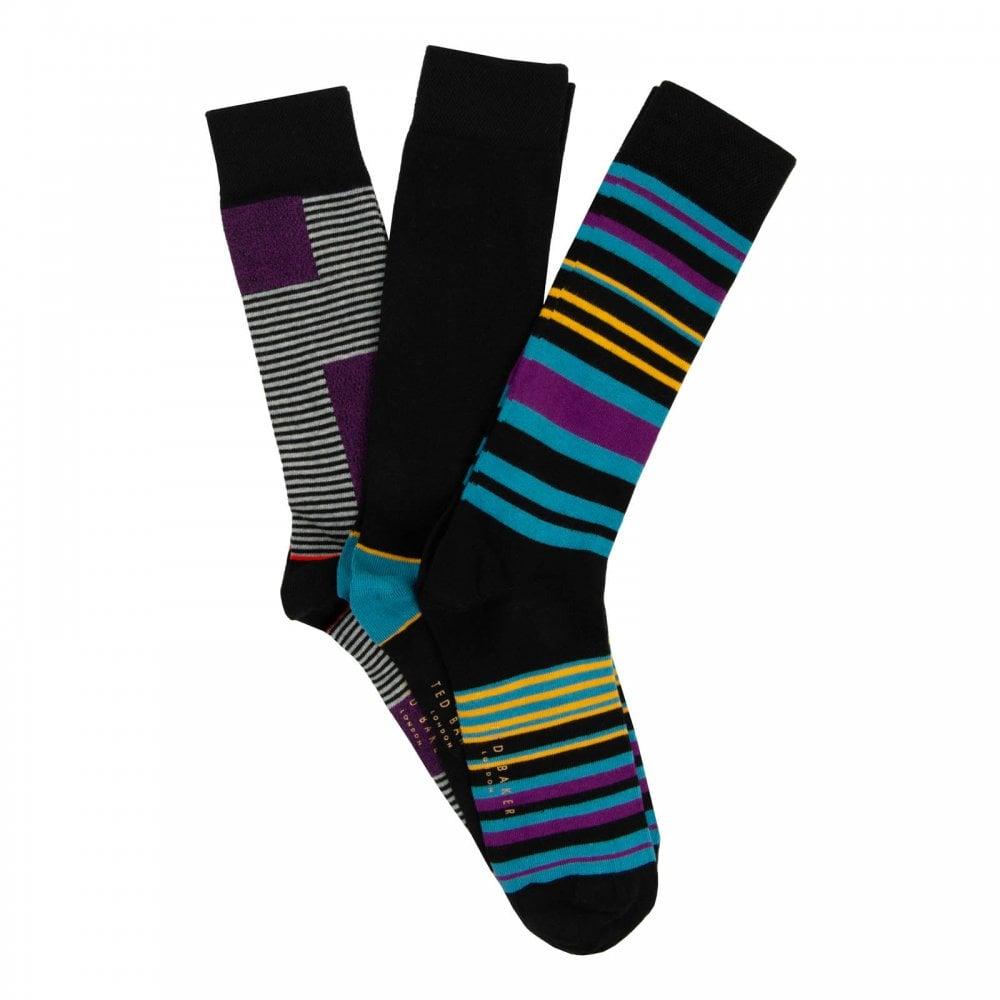 e7787b0de Ted Baker Mens Holy 3 Pack Striped Socks (Black   Multi) - Mens from ...