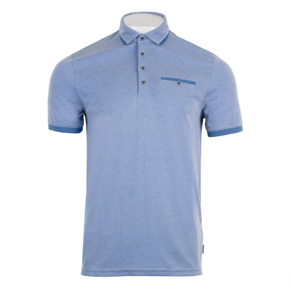 0b38785639cef Ted Baker Mens Jakturc Short Sleeve Soft Touch Polo Shirt (Blue ...