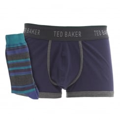 Ted Baker Mens Layney Boxer And Sock Set (Blue)
