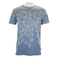 Ted Baker Mens Montana Leaf Graphic Print T-Shirt (Blue)