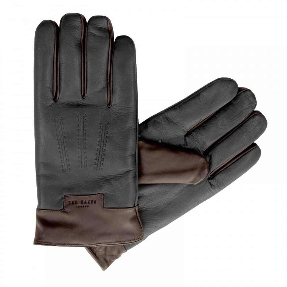 Mens leather gloves sale - Ted Baker Mens Omar Leather Gloves Black