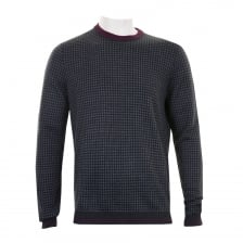 Ted Baker Mens Parvine Jacquard Crew Knit Sweater (Grey)