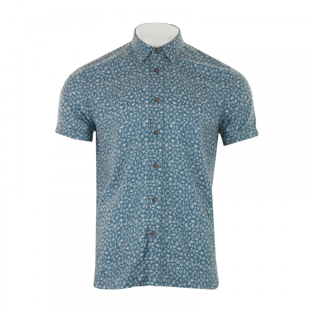 Ted baker mens pazta tropic print shirt blue mens from for Ted baker blue shirt