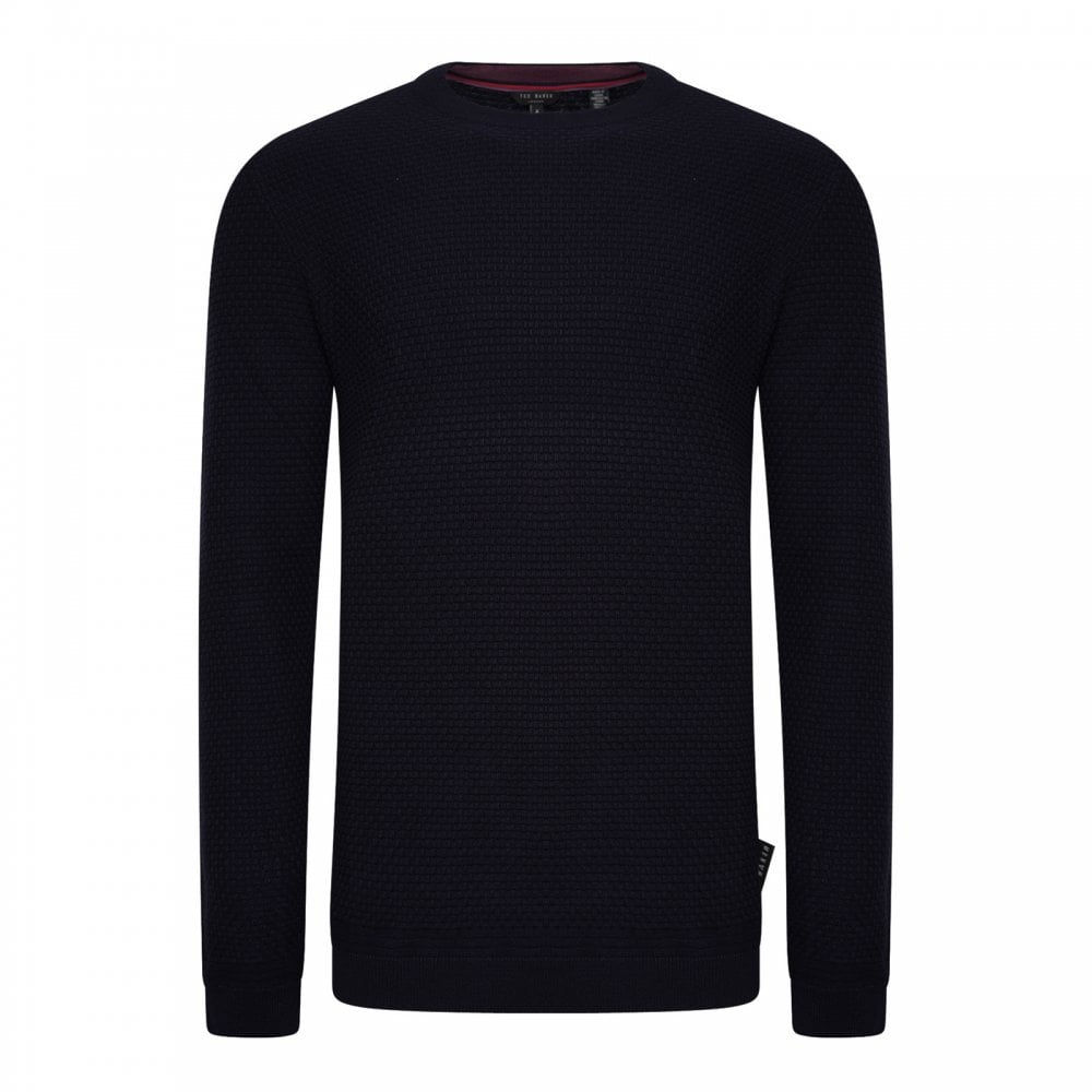 0cd434504917ba Ted Baker Mens Percypi Textured Crew Knit Sweater (Navy) - Mens from ...