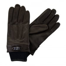 Ted Baker Mens Quiff Ribbed Cuff Gloves (Chocolate)