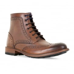 Ted Baker Mens Sealls 3 Brogue Ankle Boots (Tan)