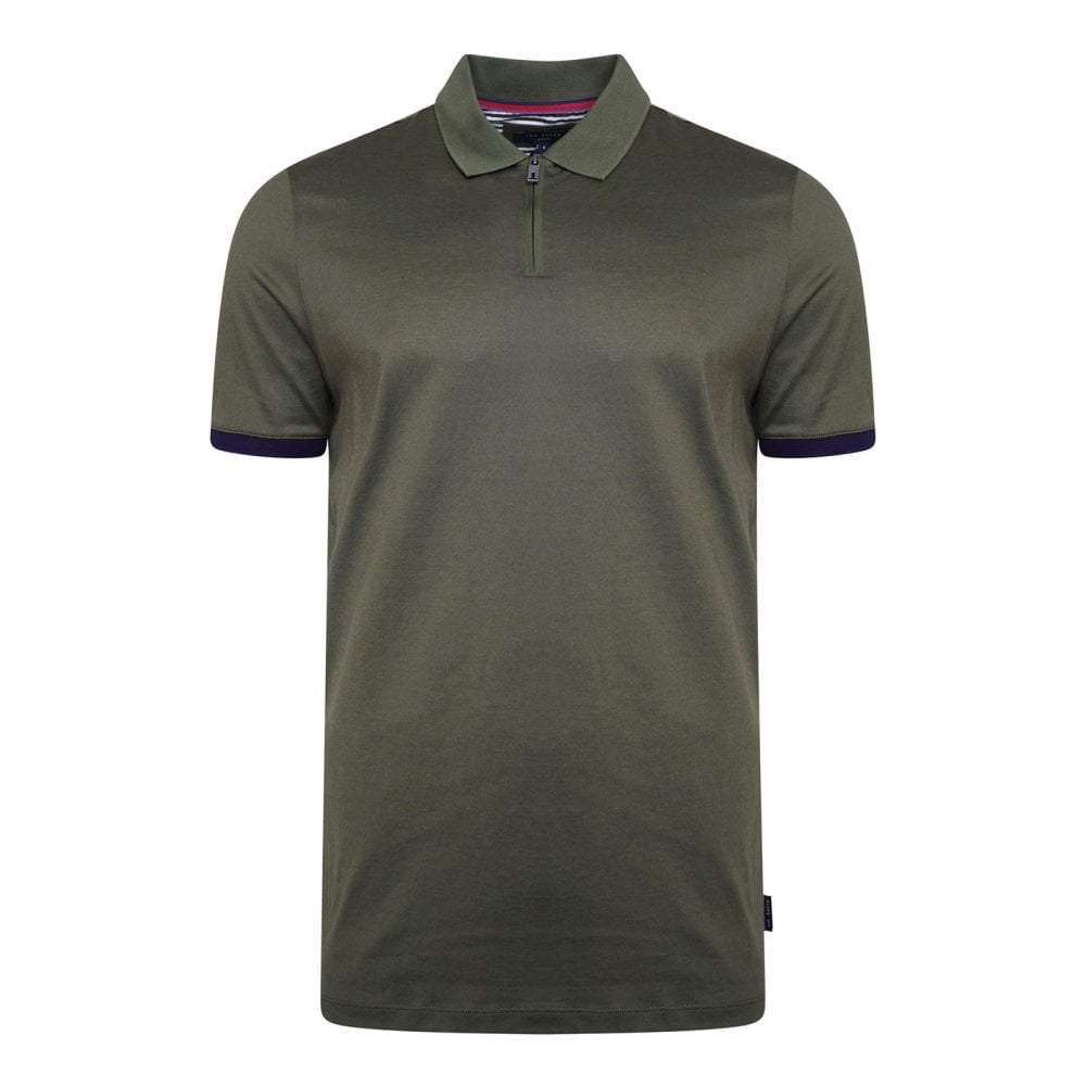 0e4c337e03e72d Ted Baker Mens Snika Zip Detail Polo Shirt (Khaki) - Mens from Loofes UK