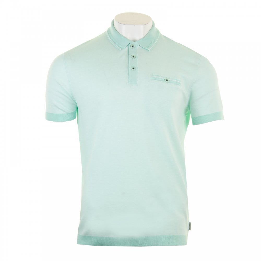 7acd35d46 Ted Baker Mens Troop Short Sleeved Ribstop Polo Shirt (Mint) - Mens ...