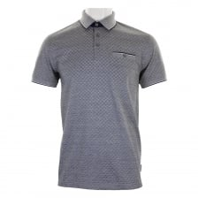 Ted Baker Mens Utah Oxford Jacquard Polo Shirt (Navy)