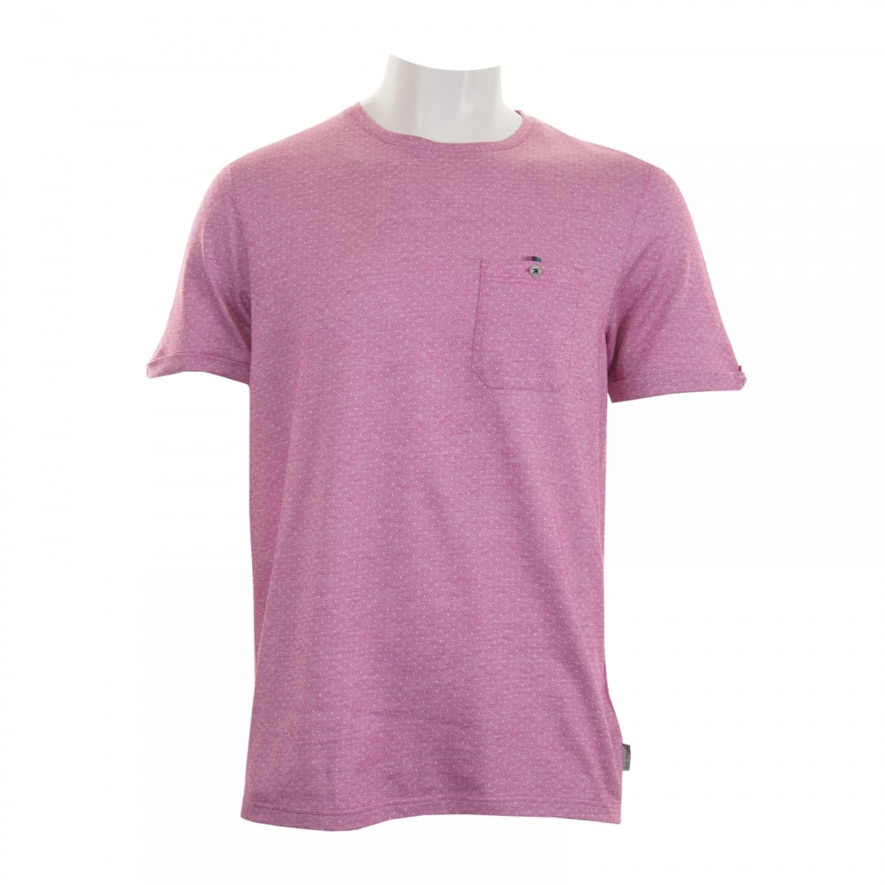 e45b088fd55328 Ted Baker Mens Vue Jacquard Crew T-Shirt (Pink) - Mens from Loofes UK