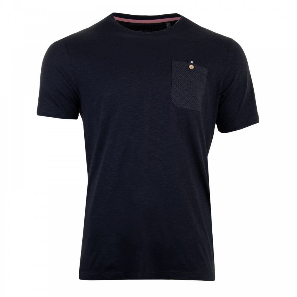 cbe385b5 Ted Baker Mens Web Short Sleeve Pocket Detail Slub T-Shirt (Navy ...