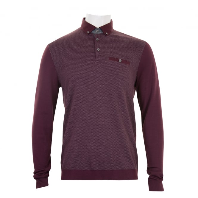Ted Baker Mens Woolpak Mouline Long Sleeve Polo Shirt (Wine)
