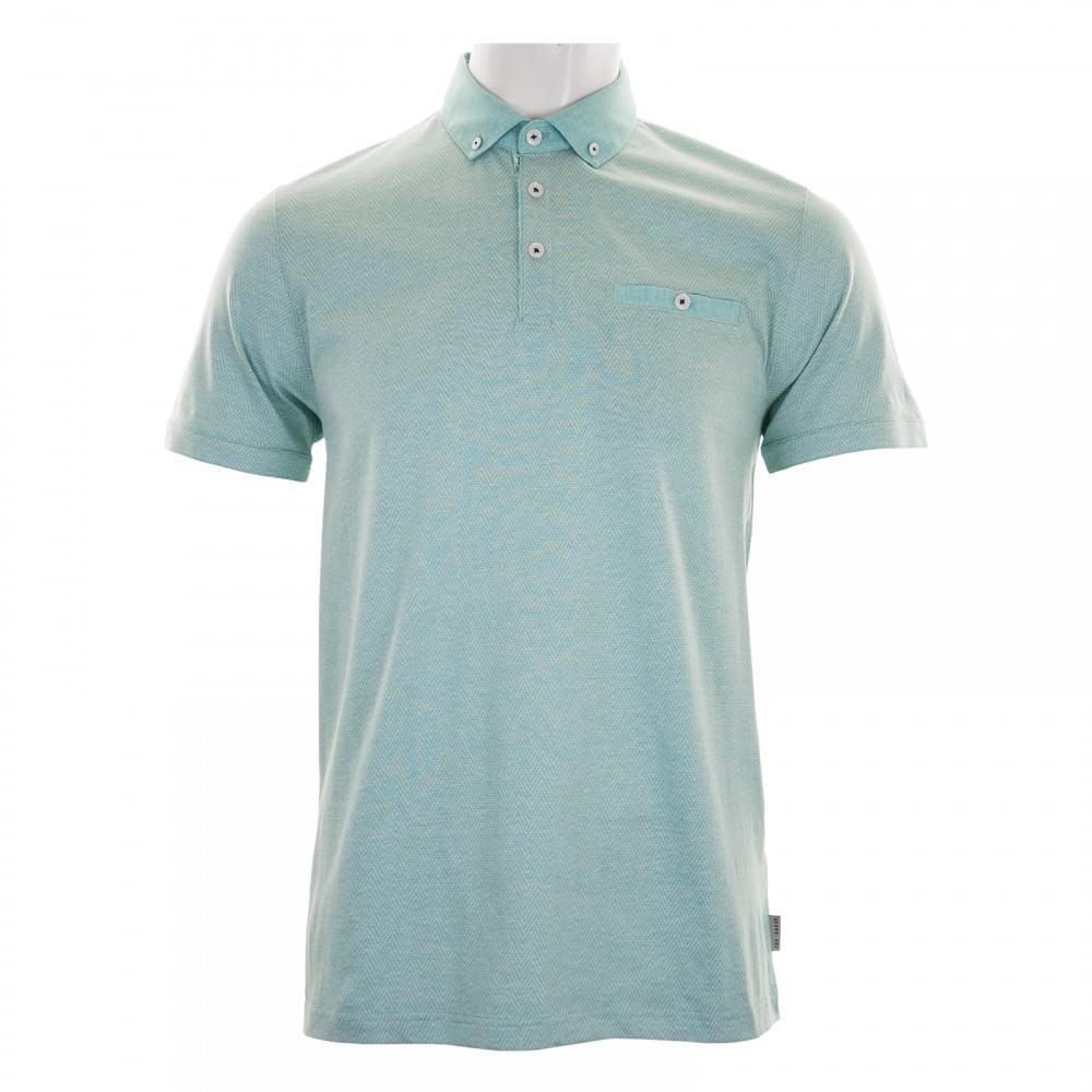 Ted baker mens zobelle linen collar polo shirt green for Ted baker mens polo shirts