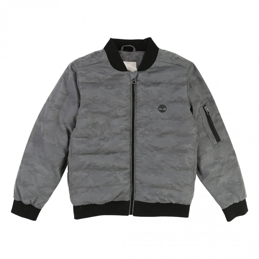 359f41f9 Juniors Bomber Jacket | TIMBERLAND Junior Bomber Jacket Silver |Loofes