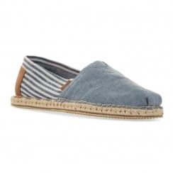 Toms Mens Chambray Stripe Shoes 316 (Blue)