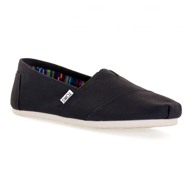 TOMS Mens Classic Canvas Slip-On Shoes (Black)
