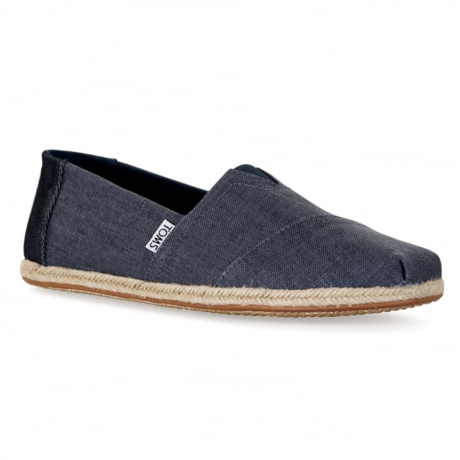 TOMS Mens Ocean Coated Linen Rope Shoes (Blue)