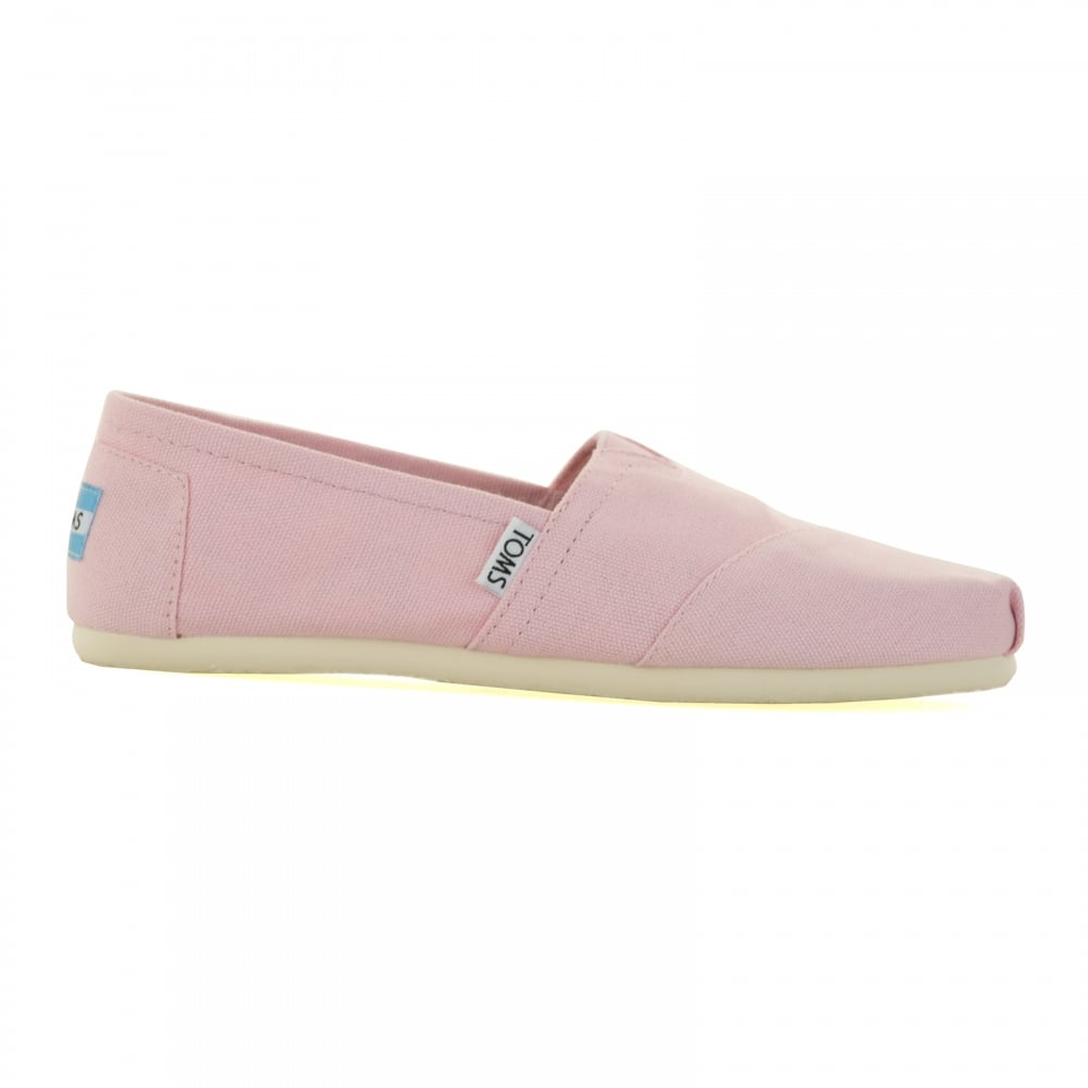 toms toms womens canvas slip on shoes pink toms from