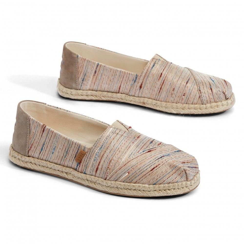 d9ab369d377 TOMS TOMS Womens Metallic Slubby Stripe Shoes (Birch)