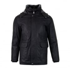 Torras Mens Detachable Hood Leather Coat (Black)
