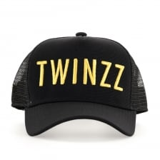Twinzz Mens 3D Mesh Trucker Cap (Black/Gold)
