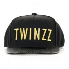 Twinzz Mens Carbon Snap Back Cap (Black/Gold)