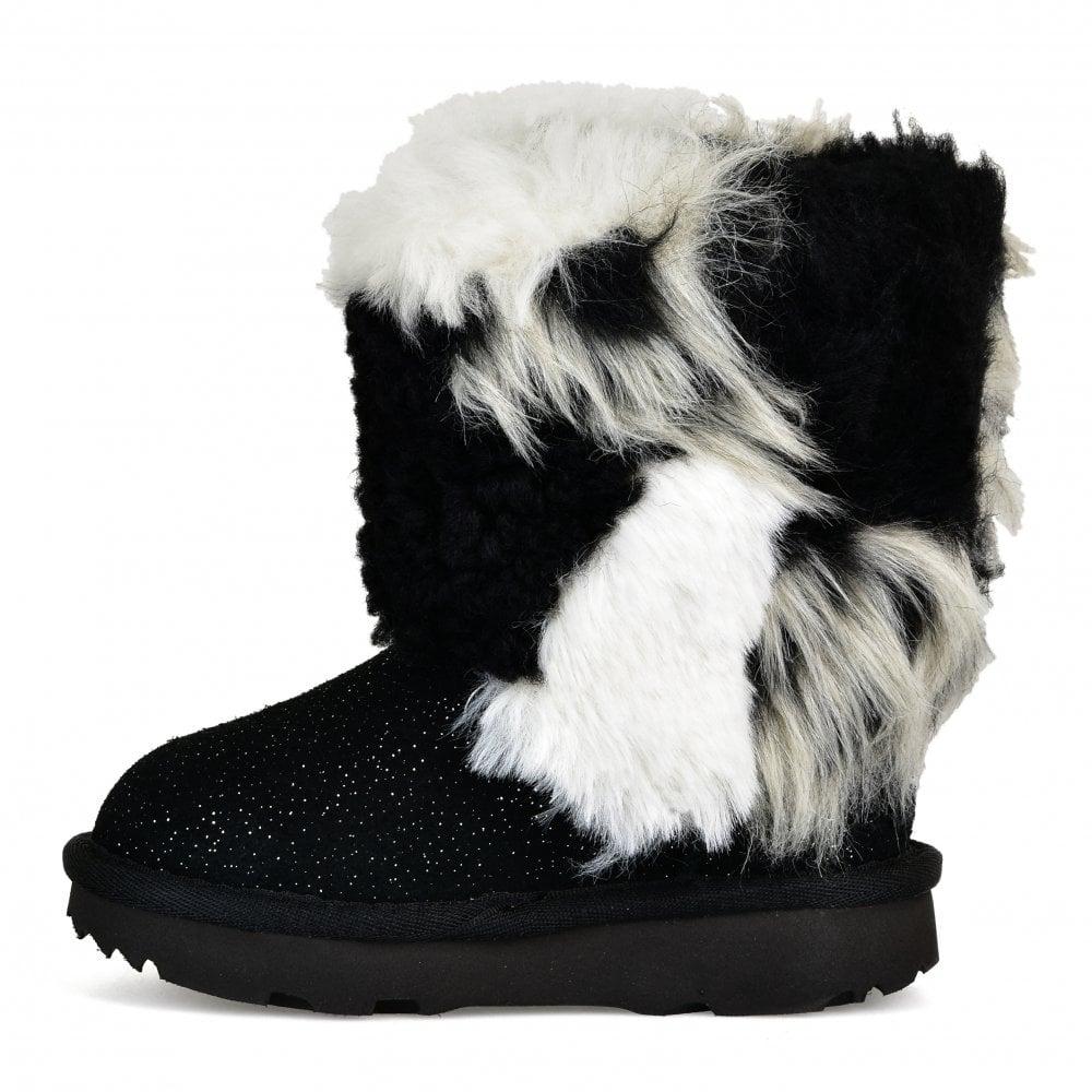 1c75caacc9a Infants Classic Short Patchwork Fluff Boots (Black)