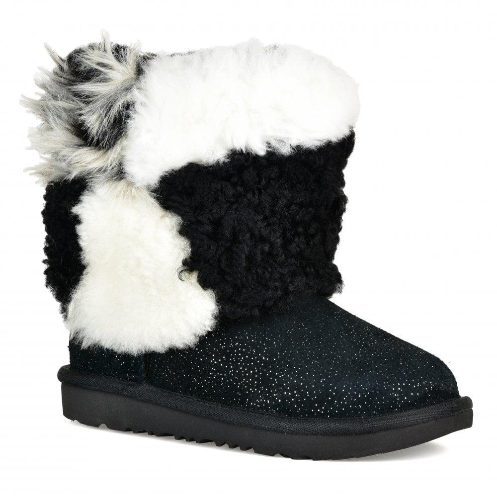 cb6085252b0 UGG UGG Juniors Classic Short Patchwork Fluff Boots (Black)