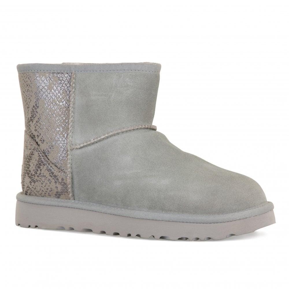 ba14918cc4f9 UGG Womens Classic Mini Metallic Snake Boots (Silver) - Womens from ...