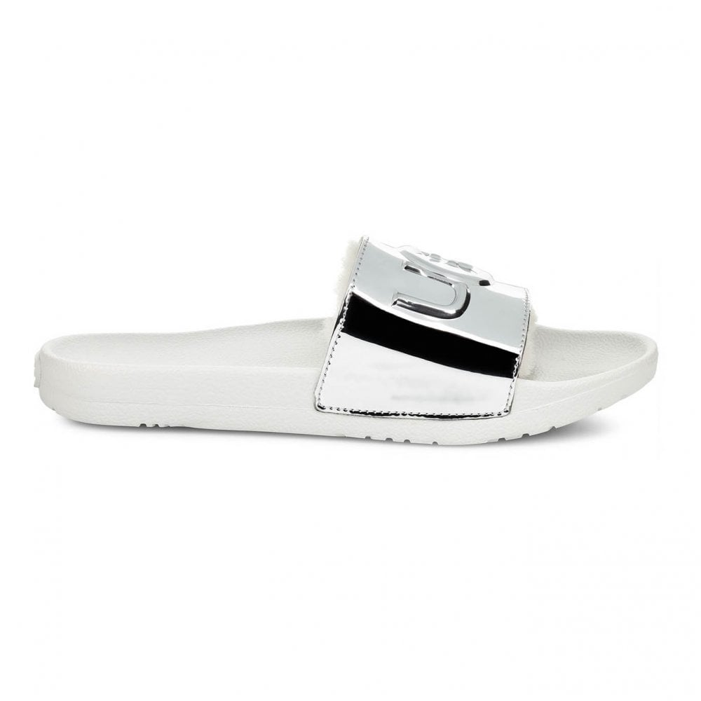 b7d6ee88fb9 Womens Royale Graphic Slides (Silver)