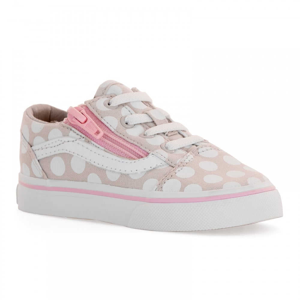 vans infants old skool polka dot trainers beige kids. Black Bedroom Furniture Sets. Home Design Ideas